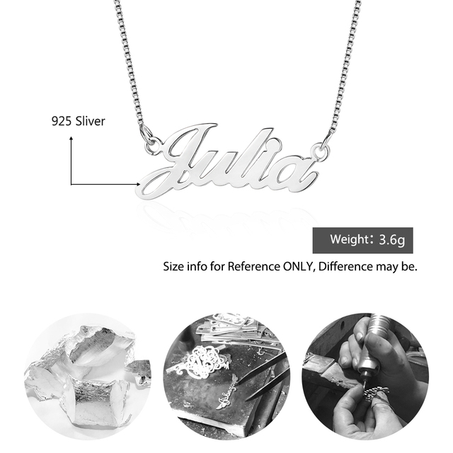 925 Sterling Silver Personalized Nameplate Letter Necklace Custom Made Name Pendant Russian Name Christmas Gifts for Girlfriend 2