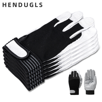 HENDUGLS 5pcs Hot Sale D Grade Leather Work Gloves Wear-resistant Safety Working Gloves Men Mitten Free Shipping 508 Gloves qiangleaf 3pcs new free shipping protection glove d grade cowhide yellow ultrathin leather safety work gloves wholesale 527np
