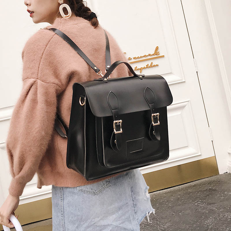 2019 New Korean Version Of The Retro College Style Square Shoulder Bag Hand Fashion Wild Female Backpack