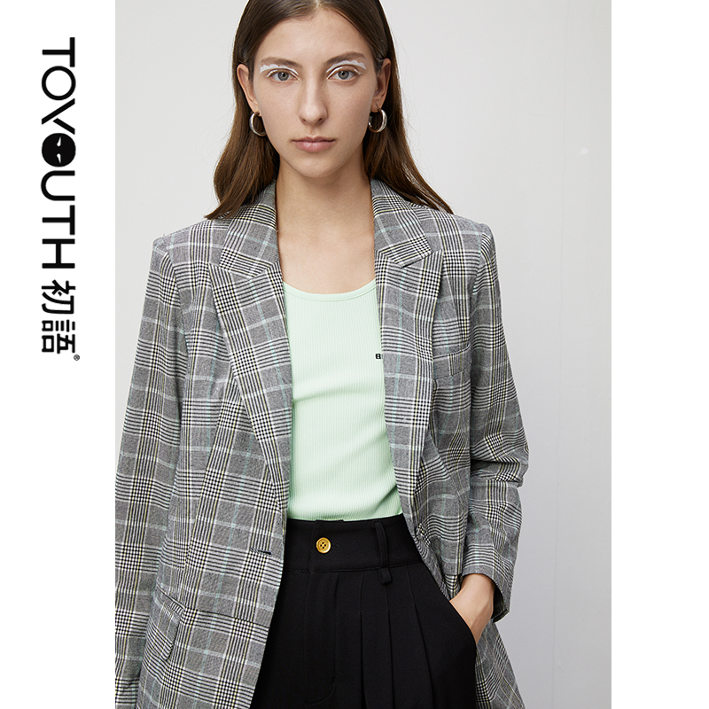 Toyouth British Style Office Ladies Blazers 2020 Spring Single Button Plaid Women Blazer All-Match Long Sleeve Outwear Coat