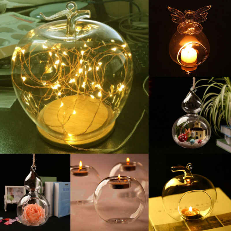 Romantic Home Wedding Decor 6/8/10/12 cm Candle Light Holder Stylish Tea Light Holder Round Hanging Glass Candle Candlestick