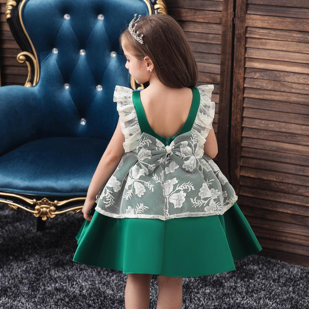 2020 New Maid Costume Ball Gown Embroidery Lace Kids Evening Party Dress for Wedding Green Flower Girl Dress
