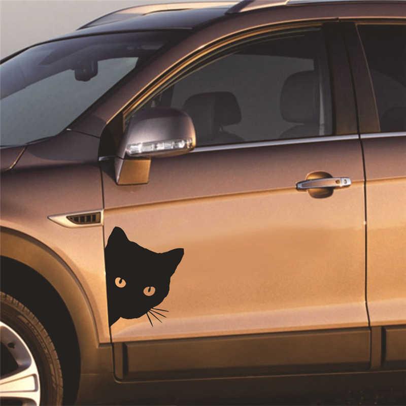 1 個猫の顔視線車のステッカーステッカーペット猫側面ステッカー車のオートバイの装飾パーソナライズ修正された車のステッカー