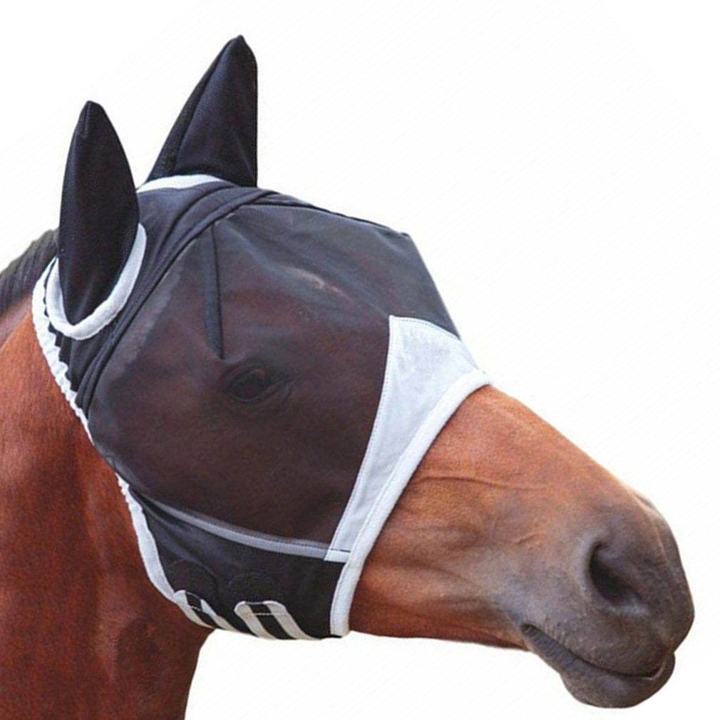 Horse Detachable Mesh Mask With Nasal Cover Horse Fly Mask Horse Full Face Mask Anti-mosquito Nose Anti-UV NEW