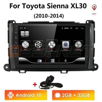 9 Android 10 2G+32G Car Radio Gps for Toyota Sienna 2010 2011 2012 2013 2014 Stereo Player 2 Din Head Unit Media Navigation image