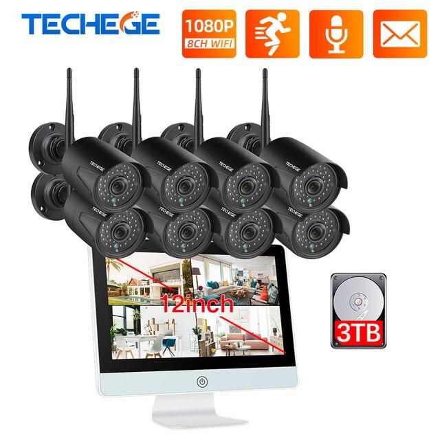 """Techege 8ch 1080p nvr sistema de câmera cctv sem fio 12 """"tela lcd gravação áudio ao ar livre câmera ip kit câmera vigilância segurança"""
