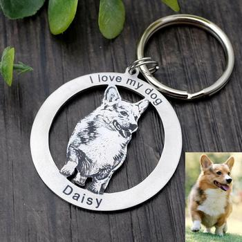 Custom Pet Keychain Personalized Dog Key Chain Cat Animal Photo Ring Memorial Loss Gift Lover