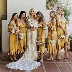 Geel Ruches Bruidsmeisje Jurk Spaghetti Gast Bruiloft Jurk Korte Front Lange Back Bruidsmeisje Jurken vestido dama honor