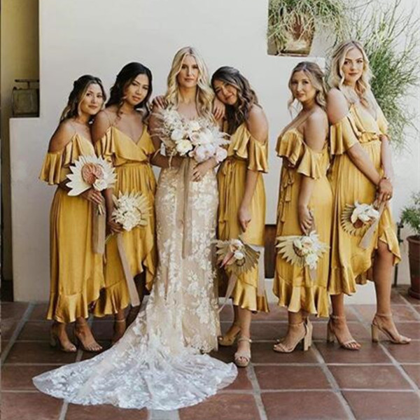Yellow Ruffles Bridesmaid Dress Spaghetti Guest Wedding Party Dress Short Front Long Back Bridesmaid Gowns Vestido Dama Honor
