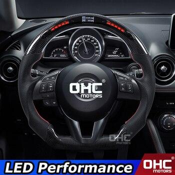Real Carbon Fiber LED Steering Wheel compatible for Mazda 3 Mazda 6 CX-4 CX-5 RX-7 BT-50 LED Performance OHC Motors