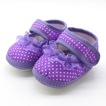 Toddler Shoes Baby Shoes Newborn Infant Baby Dot Lace Girls Soft Sole Prewalker Warm Casual Flats Shoes Low Price Cotton#30(China)