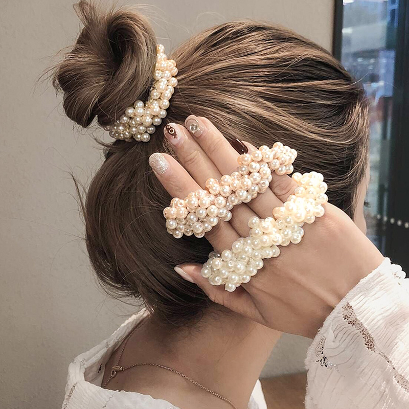 New Imitation Pearl Women Elastic Hair Rubber Bands Korea Solid Hair Rope Ties Ponytail Holder Hair Accessories For Girls Women