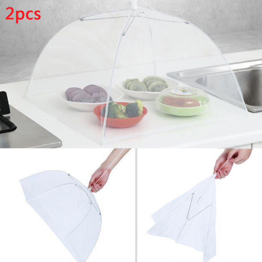 40^2PCs Up Mesh Screen Food Covers Large Up Mesh Screen Protect Food Cover Tent Dome Net Umbrella Picnic Food Protector