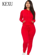 KEXU Women Long Sleeve Bodycon Jumpsuits Rompers Two Pieces Sets Hooded Female NEW Streetwear Overalls Woman Plus Sixe S-XXL