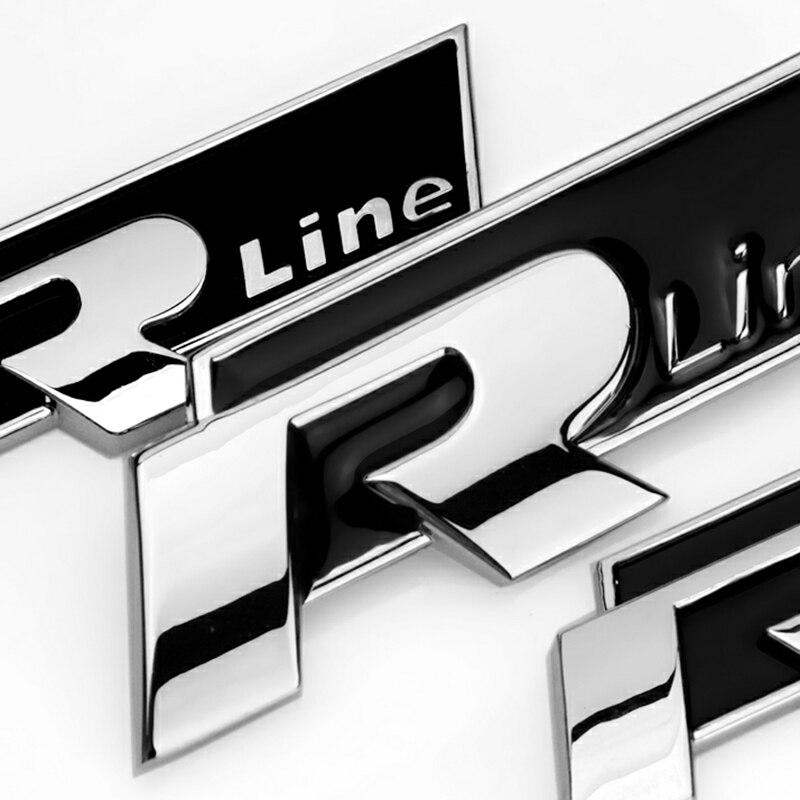 1 Pcs 3DสีแดงR R-Lineโลหะสติกเกอร์รถด้านหน้าGrille Body Emblem BadgeสำหรับVolkswagen POLO Golf Passatอุปกรณ์เสริม