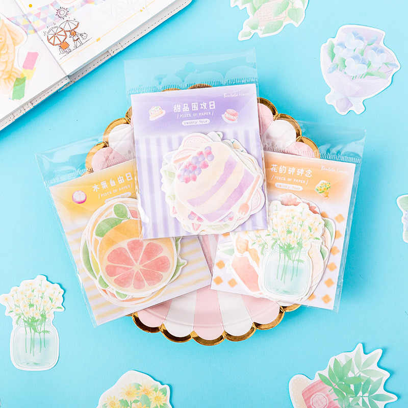 24 Pcs Kawaii Memo Pad Creative Fruit Non-Sticky Note Diy Scrapbooking Bullet Journal Leuke Memo Note Stationair School student