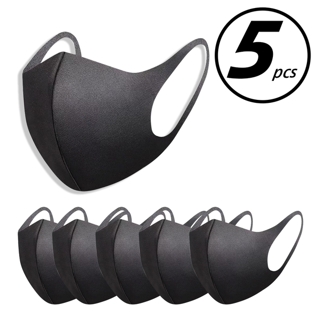 5pcs Washable elastic Earloop Face Breathing Mask Reusable Anti Dust Cotton Mouth Mask Fashion Black Mask For Adults