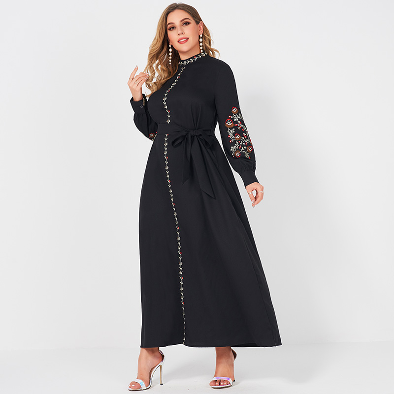Ladies Fashion Resort Style Small Stand Collar Floral Embroidery Long Loose Belt Large Plus Size Sweet Woman Black Lady Dress