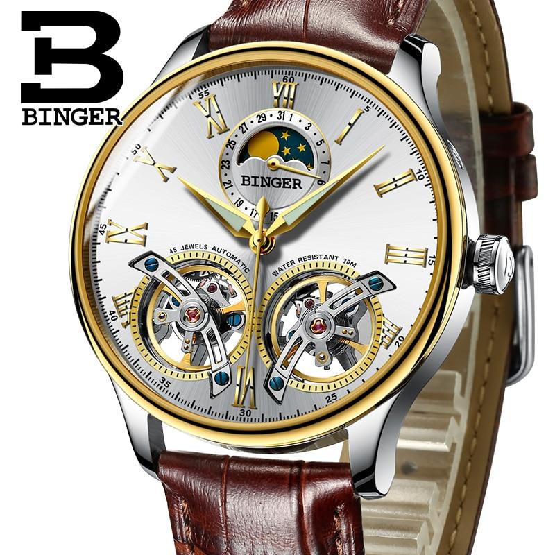 Double Tourbillon Switzerland Watches BINGER Original Men's Automatic Watch Self Wind Fashion Men Mechanical Wristwatch Leather Mechanical Watches     - title=