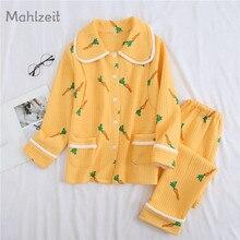 Осенне-зимняя новая хлопковая одежда для беременных кормящих женщин, одежда для сна с морковкой, толстая Пижама для грудного вскармливания, комплект для мамы