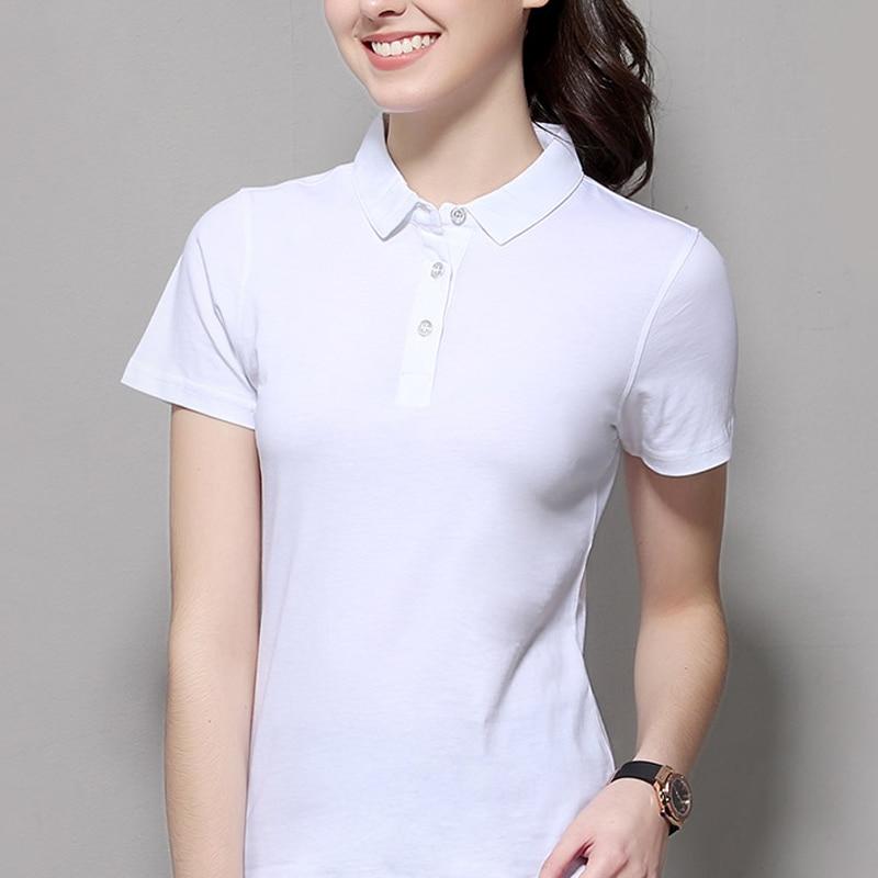 2019 Summer Fashion Polo Shirt Women New Casual Short Sleeve Slim Polos Mujer Shirts Tops Plus Size Female Cotton Polo Shirt