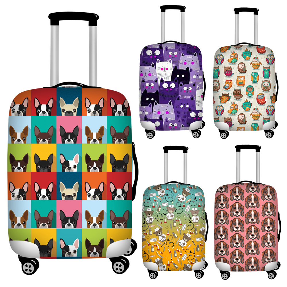 Twoheartsgirl Colorful Cute Dog Cat Owl Print Travel Luggage Covers Elastic 18''-32'' Suitcase Protective Dust Covers Baggage