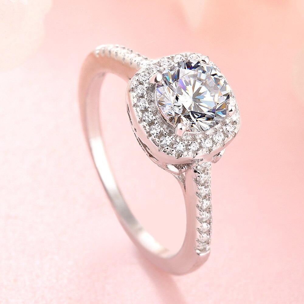 Кольцо с бриллиантами в виде солитера, 100% пробы, 925 пробы, серебряные ювелирные изделия, белый циркон, Cz, обручальное кольцо, кольца для