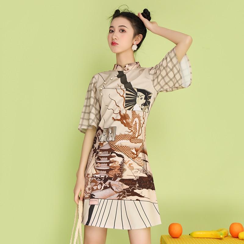 Летнее китайское традиционное платье с модным принтом, современное восточное платье, женское винтажное платье Ципао, китайский подиумный костюм, 2020 Платья      АлиЭкспресс