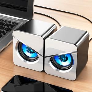 Проводная USB система объемного звучания, светодиодный компьютерный динамик, игровые басы для настольного компьютера, портативная проводна...