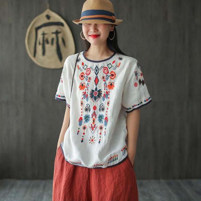 New Embroidered Tshirt Cotton And Hemp Top Women's Summer Korean Version Short Sleeve Literature And Art Leisure Pullover Shirts 5