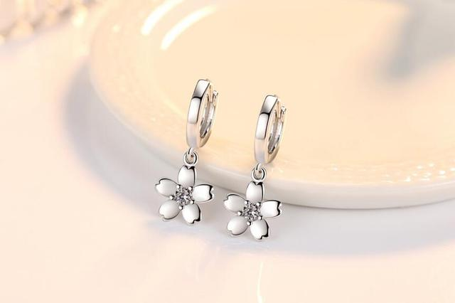 Simple Fashion 925 Sterling Silver Earrings For Women Cute Pink White Zircon Poetic Cherry Blossoms Drop.jpg 640x640 - Cute Pink/White 925 Sterling Silver Earrings For Women
