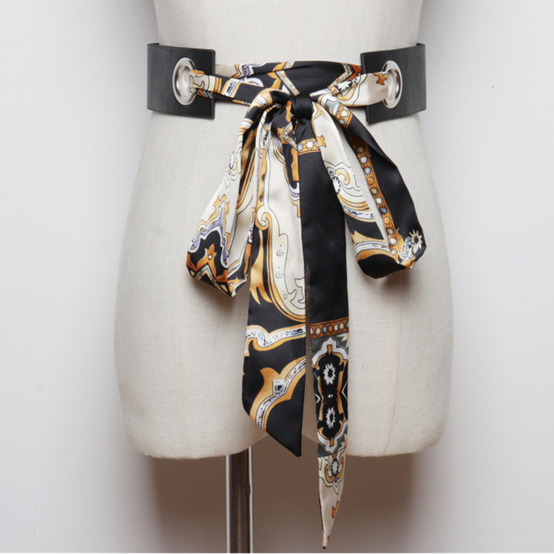 LANMREM 2020 Fashionable Detachable Silk Scarf Bow Tie Waistband With Dress Shirt Print Striped Belt PC219