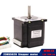 23HS5628 Nema23 מנוע צעד 57 מנוע 4 עופרת 165 Oz ב 56mm 2.8A 6.35mm או 8mm diame CNC לייזר טוחנים קצף פלזמה Cut
