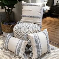 Handmade Grey Cushion Cover Pillow Case Strip Tassels Neutral Decorative For Sofa Seat Home Decorative Canvas 45x45cm 30x50cm