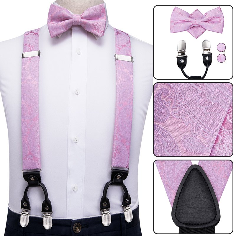 Hi-Tie Leather Suspenders Men Braces Metal 6 Clips  Vintage Mens Elastic Suspenders Pink Wedding Bow Tie Suspenders For Men