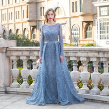 Dubai Blue Embroidered Long Sleeve Evening Dress O Neck Lace Stones Formal Evening Gowns Mermaid Robe De Soiree