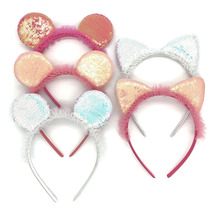 New Girls Cute Plush Sequin Hairband Elegant Headband Women Headwear Bear Ear Hair Hoop Bezel for Accessories