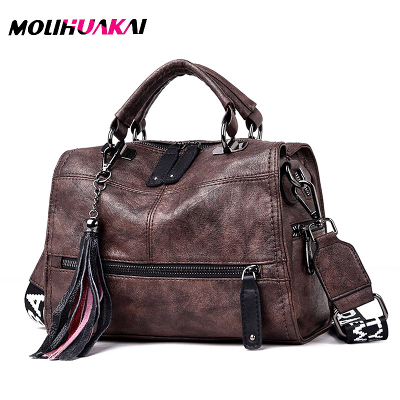Luxury Brand Soft Leather Handbags Vintage Tassel Women Hand Bags Designer Female Tote Bag Crossbody Bags For Women Shoulder Bag