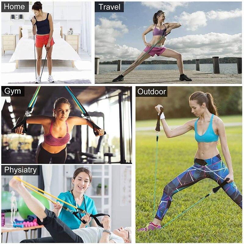 Латексные Эспандеры 11 шт./компл., тренировочные упражнения для кроссфита, трубки для йоги, резиновый эспандер, эластичные ленты, оборудование для фитнеса-4