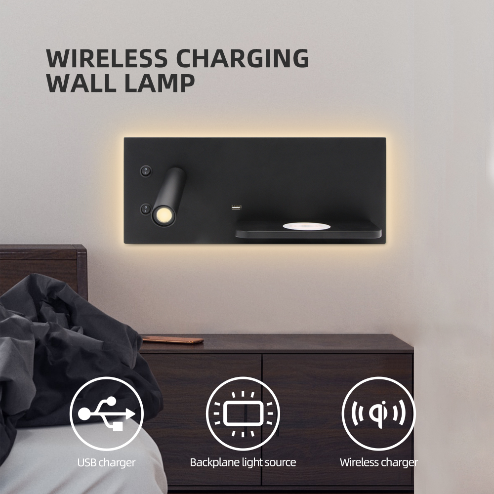 ZEROUNO LED Bedroom Lamp Reading Light USB Charger Wall Sconce Bedside LED Lighting Phone Wireless Charger Functional Wall Lamps