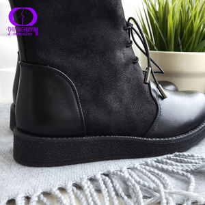 Image 5 - AIMEIGAO siyah dantel up sıcak yarım çizmeler kış ayakkabı kadın platformu daireler kaymaz süet çizmeler kadın su geçirmez deri çizmeler
