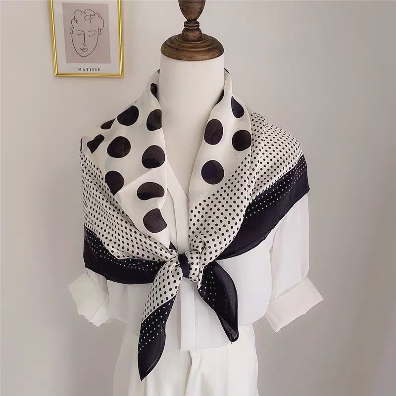 Fashion <font><b>90</b></font>*90Cm Square Women Polka Dot Silk Scarf Ladies High Quality Print Soft Shawls and Wraps Echarpe <font><b>Foulard</b></font> Muslim Hijab image
