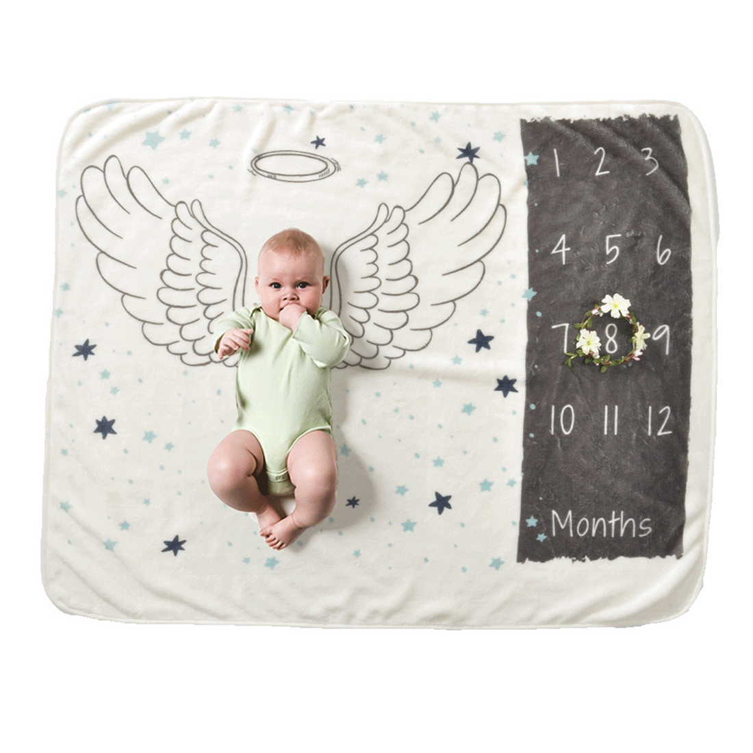 Newborn Baby Monthly Growth Milestone Blanket Baby Photography Props Backdrop Blanket Shower Gift Commemorate Rug - Butterflies