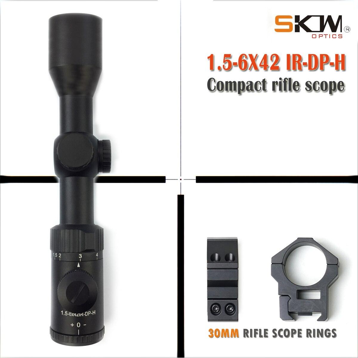 SKWoptics 1.5-6x42 tactical polowanie taktyczne wojskowy luneta Sight 223 308 30-06 ar15 AK 30mm zakres pierścienie