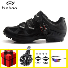 Tiebao cycling shoes MTB SPD Pedals set bicycle riding shoes 2019 Men self-locking breathable mountain bike bicycle sneakers santic cycling mtb bike bicycle men shoes breathable mountain bike bicycle equipment self locking tpr pu shoes with free socks