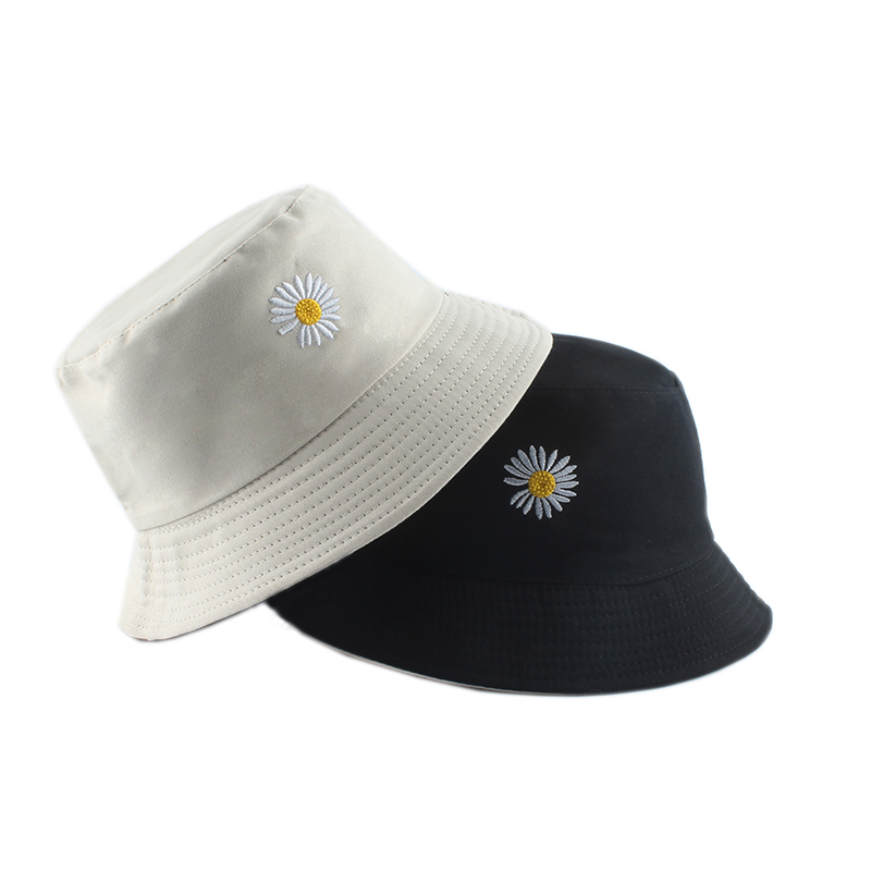 Summer Daisies Embroidery Bucket Hat Women Cotton Fashion Sun Cap Girls Reversible daisy Bob Sun Femme Floral Panama Hat