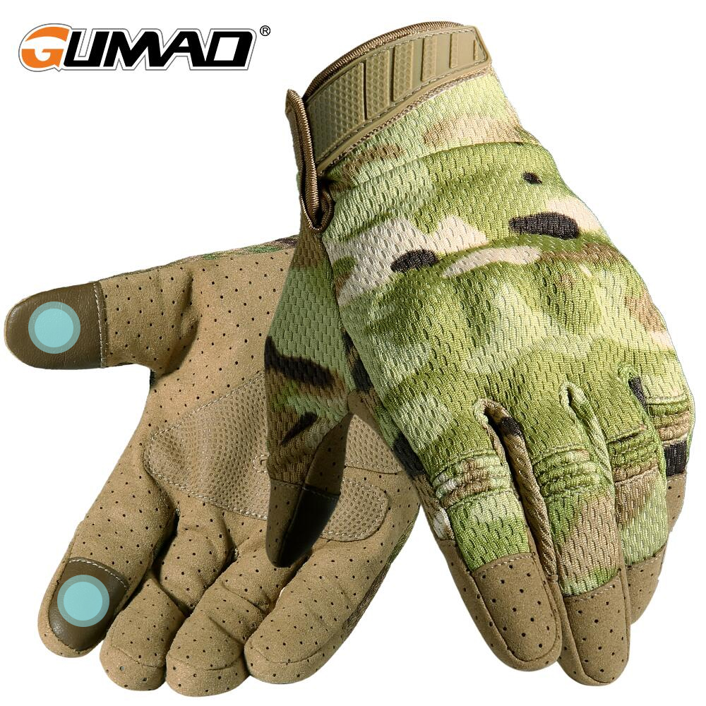 Men's Airsoft Full Finger Glove Touch Screen Multicam Camo Tactical Gloves Military Sport Climbing Shooting Paintball Mittens