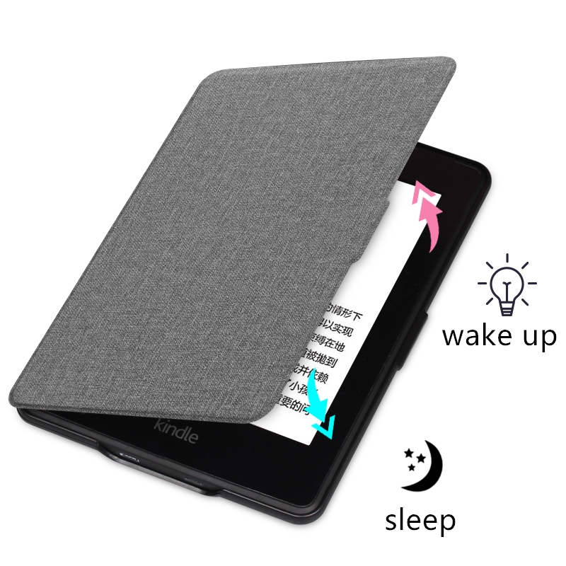 For All-New Kindle 2019 Case Cloth Texture PU Leather Smart Case PC Back Hard Cover for All-New Kindle 10th J9G29R 2019 Released-3