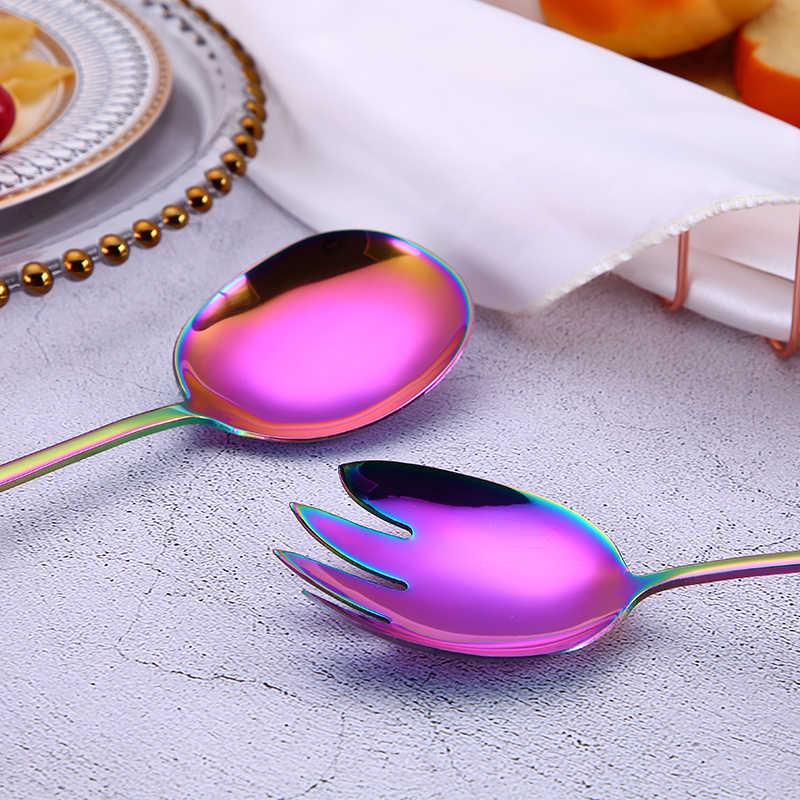 Spklifey Cucchiaio di Insalata Forchetta 2PCS Cucchiaio di Insalata In Acciaio Inox Set di Posate Cucchiaio Da Portata Insieme Variopinto Unico Cucchiai