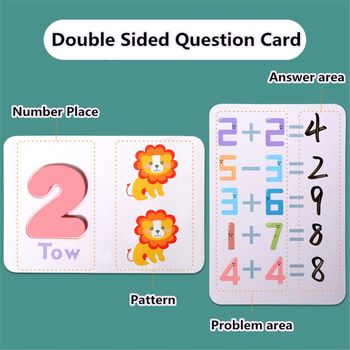 Numbers Flash Cards Set - Numbers Animal Card Board Matching Puzzle Game Montessori Educational Toys Gift for Toddlers